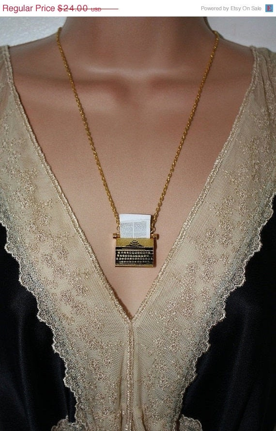 CYBER MONDAY Sale The Writer - Typewriter Necklace Gold Plated