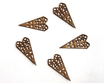 6 Vintage 1950's Antiqued Art Nouveau Filigree Stampings // 40s 50s Craft Jewellry Supply // NOS // Victorian / Edwardian Jewelry