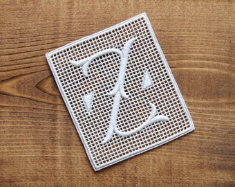 Z cotton embroidered initial monogram - vintage supply for hand crafter decoration photographer motif or wedding project
