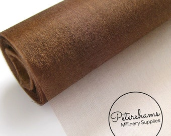29cm (11.4 Inch) Wide Shimmer Organza Fabric for Millinery & Crafts 1 Yard - Chocolate Brown