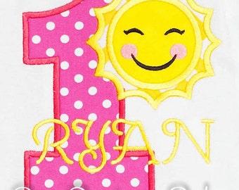 Sun Birthday Shirt, Number, Monogrammed, Appliqued, Custom Fabric, Girls Birthday Shirt, Shirt,Tank,Bodysuit,Romper,Gift