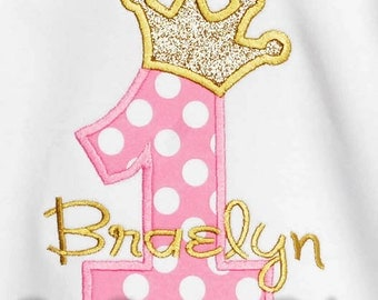 Royal Princess Birthday Shirt or Bodysuit, Baby Girl First Birthday Bodysuit, Baby Girl First Birthday Shirt, Pink and Gold Birthday Shirt