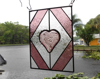 Stained Glass Suncatcher, Sandwich Glass Heart, Glass Yard Art, Garden Decor, Stained Glass Panel, Stained Glass Transom Window or Valance