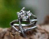 Herkimer diamond ring statement ring raw crystal quartz engagement ring gemstone twig ring branch alternative April Birthstone ring.