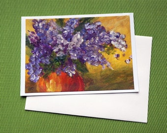 Lilac - Hand Painted  Floral Greeting Card