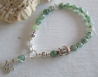 Green Aventurine Buddha Bracelet with Lotus Charm ~ Chakra / Metaphysical / Yoga / Spiritual Jewelry - Natural Green Gemstones