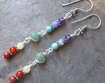 7 Chakra Earrings ~ Chakra Gemstones ~ Spiritual/Metaphysical Jewelry