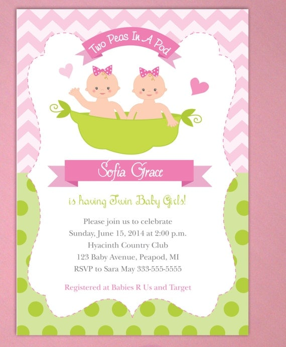 two peas in a pod baby shower invitations twin baby girls printed, Baby shower