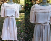 45% OFF 70s Dress, Vintage Dress, Feminine Dress, Puffed Sleeves, Secretary Dress in Rosy Tan Size 4