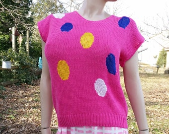 Fun 80s Sweater, 80s Costume, Vintage Sweater, Graphic Sweater, Womens Sweater,Pink Sweater with Multicolored Ovals by SML Sport Size L