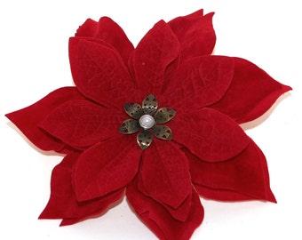 Christmas Poinsettia Hair Flower - Silk Flowers, Christmas Flowers