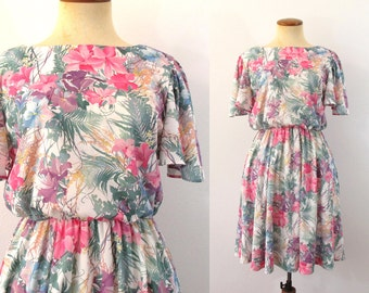 1980s Mini Dress High Waist Day Twirl Skirt Picnic Floral Spring Romantic Flutter Sleeve Flirty Vintage 80s Boho Boatneck S M Small Medium