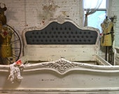 Painted Cottage Shabby  French Linen Tufted  Romantic  Bed  KING