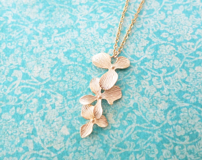 SALES Rosamunde - Gold Orchid Flower Wedding Bridal Necklace, Bridesmaid brides jewelry, Boho Garden weddings , gold garden flower weddings