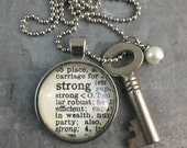 One Word Pendant with Vintage Key - Strong