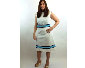 1960s Mod dress, L'aiglon dress, matelasse, blue and white, sleeveless dress, Size L