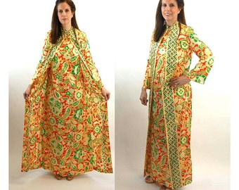 1960s maxi dress wrap dress caftan long dress with attached coat by Georgie Keyloun orange yellow green Size M/L