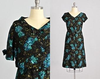 vintage 1950s dress • dress  and jacket • party 50s dress • 1950s floral print dress • medium