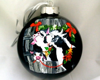 Hand Painted Ornament-3 Cows-Item 822