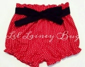 Red Pin Dot High Waisted Shorties -Baby Toddler Girls Shorts- Minnie Mouse -Birthday Gift- Removable Black Sash- Top to Match- Valentine's