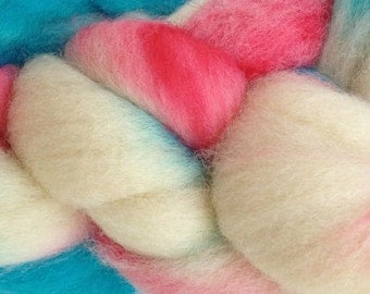 Wool Roving Hand Dyed in Circus Tent Red White Aqua