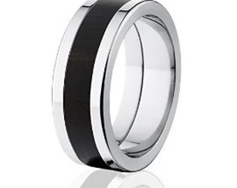 New African Black Wood Rings, Exotic Hard Wood Wedding Band: 8F_African Black Wood