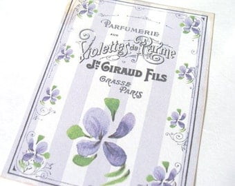 French Violet Tags - Set Of 4 - Spring Flowers -  Cottage Chic - Garden Tags - French Script -  Flower Tags - Thank Yous