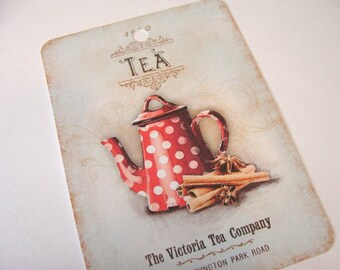 Teapot Tags -  Set of 4 -  Red Dotted Teapot - Vintage Teapot - Red Kitchen Tags - Gift Tags - Thank Yous - Vintage Tea Tags