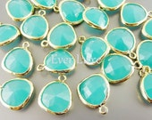 2 mint turquoise green unique glass charms for jewelry making / glass earrings necklaces bracelets 5031G-MT (bright gold, mint, 2 pieces)