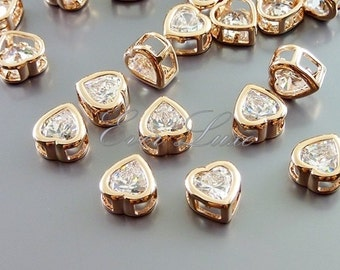 4 rose gold simple heart CZ / Cubic Zirconia beads, CZ beads, bridal / wedding jewelry 1825-BRG (bright rose gold, clear, 4 pieces)