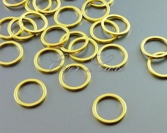 4 plain 10mm circle pendants, modern round connectors, jewelry findings supplies, hoop pendants 997-MG-10 (matte gold, 10mm, 4 pieces)