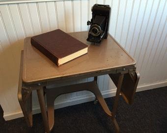 Industrial Vintage Metal Dropleaf Table