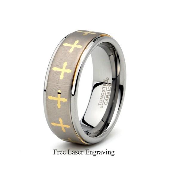 Tungsten Wedding Ring Mens Wedding Band Cross All Around The