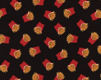 One Yard Timeless Treasures Fun Food Assorted MINI FRENCH FRIES Toss On Black Fabric...New