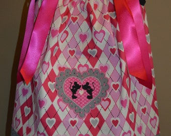 Minnie n Mickey Mouse Valentine Argyle Pillowcase Dress (extra for personalization)