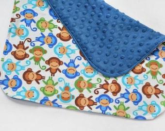 Mini Baby Boy Blanket Security Blanket Baby Lovey Travel Changing Pad Cute Monkeys Baby Accessories, Baby Blanket