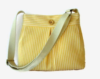 Yellow Cream Striped Pleated Shoulder Bag - Upholstery Fabric Crossbody Purse - Adjustable Messenger Crossbody Strap - Yellow Pleated Bag