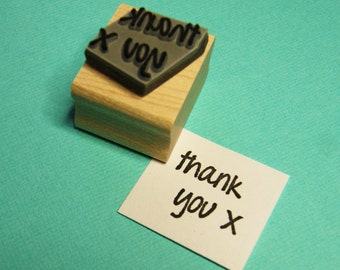 Mini Thank You Sentiment Text Rubber Stamp - Thank You Gift - Scrapbooking Stamper - Business Supplies - Thanks - Kiss Stamp - Message Stamp