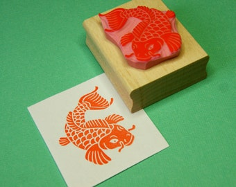 Fish Rubber Stamp - Koi Carp Hand Carved Rubber Stamp