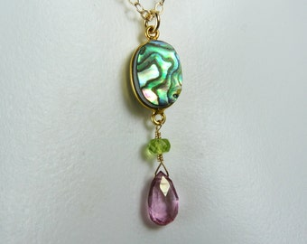 Abalone Paua Shell, Pink Mystic Quartz, and Peridot Necklace, Bezel Set Abalone Paua Shell and Faceted Gemstone Pendant, Gold Bezel & Chain