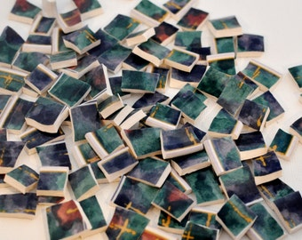 Broken China Mosaic Tiles - Green and Turquoise - Recycled Plate - Set of 100
