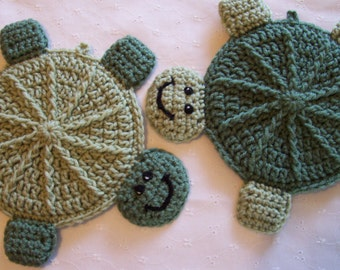 Happy Turtles Wall Hangings /  Potholder (pr)