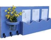 Mail Organizer - Mail And Key Holder - Key Hooks - Jar Vase - Organizer - Painted Distressed Wood - Wall Hanging
