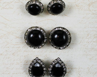 Lot of 3 Pairs of Vintage Black and Clear Rhinestone Clip On Earrings