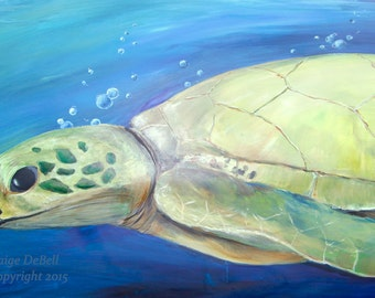 """TURTLE SWIMMING in BLUE Water **  11"""" x17"""" Print of Original Acrylic on Canvas"""