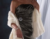 Faux Fur Stole Shawl Wrap White winter wedding  formal Prom Four grooved rows wide Available in cream, black, ivory or white