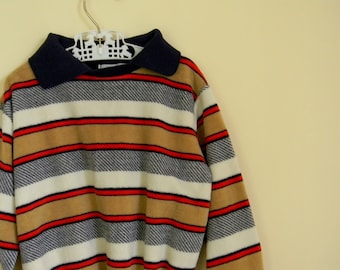 Vintage 1970s 1980s Velour Striped Shirt - Size 3T 4T