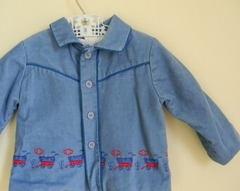 Vintage Toddler's Blue Western Jacket with Embroidered Stagecoaches - Size 18 Months