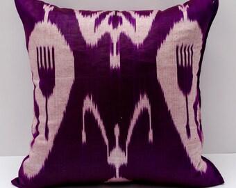 15x15 ikat cushion cover, purple ikat pillow purple pillow, ikat pillow, pillow cover cushion case, cuscino, coussin