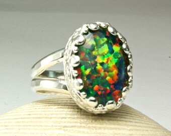 Cocktail Ring, Sterling Silver Synthetic Opal Ring, Rainbow Flash, Filigree Setting